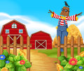 Scarecrow in the farmyard illustration Royalty Free Stock Images