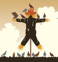 Scarecrow pigeons editable vector silhouette of a flock of around a Stock Images