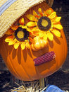 Scarecrow pumpkin a decorated for the autumn holiday seasons Stock Photos