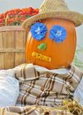 Scarecrow pumpkin a decorated for the autumn holiday seasons Stock Photo