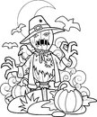Scarecrow in pumpkin patch Royalty Free Stock Photo