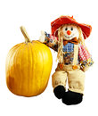 Scarecrow and pumpkin with straw hair hat Stock Image