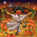 Scarecrow with pumpkins Stock Photos