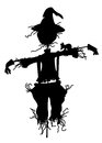 Scarecrow silhouette of a isolated on white Stock Photo