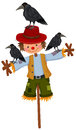 Scarecrow on stick and three crows Royalty Free Stock Photo