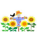 Scarecrow and Sunflowers/eps Royalty Free Stock Photo