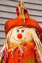 Scarecrow wearing bright orange clothes and a big smile on his face Royalty Free Stock Photos