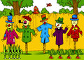 Scarecrows in the garden illustration shows a few they stand along fence different clothes illustration done cartoon Stock Photos