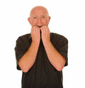 Scared Bald Man Royalty Free Stock Photo
