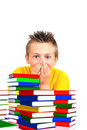 Scared boy from school with books Stock Image
