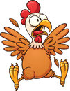 Scared cartoon chicken