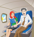 Scared of flying man on a plane terrified Stock Images
