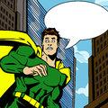 Scared hero comic book style illustrated with speech bubble Stock Image
