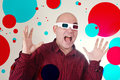 Scared man with 3d anaglyph glasses Stock Photography