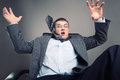 Scared man frightened office worker put his hands up Royalty Free Stock Image