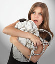 Scared woman handbag robbery Royalty Free Stock Photos