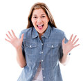 Scared woman screaming isolated over a white background Stock Image