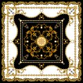 Scarf Design for Silk Print. Golden Baroque with Chains on Black and White Background. Square fashion print. Vintage Style Pattern