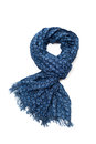 Scarf patterned blue on white backgroun Stock Photos