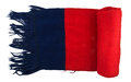Scarf red blue knitted folded isolated on white background Royalty Free Stock Images