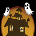 Scaring ghosts black in halloween a brown house in an orange background Royalty Free Stock Image
