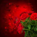 Scarlet roses on dark background bokeh with hearts Stock Photo