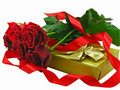 Scarlet roses with the golden gift box. Royalty Free Stock Images