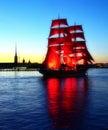 Scarlet sails. White night of Petersburg Stock Image