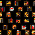 Scarry fast food pattern Royalty Free Stock Image