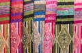 Scarves with Hmong ethnical patterns, Sapa, Vietnam Royalty Free Stock Photo