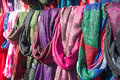 Scarves on a market stall full frame take of colorful display at Royalty Free Stock Image