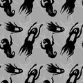Scary black ghosts seamless pattern Royalty Free Stock Photo