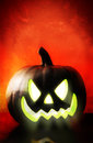Scary Black Pumpkin Jack O Lantern Stock Photography