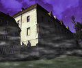 Scary building violet background dark Stock Photos