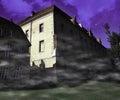 Scary building violet background dark Stock Photos