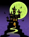 The scary castle at mountain top halloween illustration Royalty Free Stock Photos