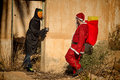 Scary confrontation santa in trouble a holiday heroes Royalty Free Stock Images