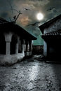 Scary dark courtyard in the ominous moonlight night a cold halloween Royalty Free Stock Photography