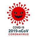 Scary deadly new coronavirus icon with teeth. Warning, precaution, attention, alert icon sign. Healthcare medicine protected