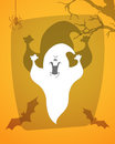 Scary ghost. Halloween poster background card. Royalty Free Stock Photo