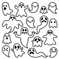 Scary ghosts design, Halloween characters icons set