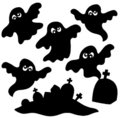 Scary ghosts silhouettes collection Royalty Free Stock Photography