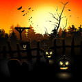 Scary graveyard at sunset halloween background Royalty Free Stock Photography