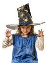 Scary halloween little girl evil eyes claw hands frightening at with magician hat mysterious and look like claws isolated on white Royalty Free Stock Photo