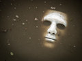 Scary halloween mask drown in the water white Stock Photo
