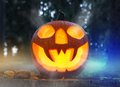 Scary halloween pumpkin concept of with burning Royalty Free Stock Image