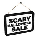 Scary halloween sale words on a black banner against white base Royalty Free Stock Images