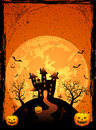 Scary house halloween night on the moon background illustration Stock Photography
