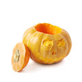 Scary Jack-O-Lantern pumpkin isolated Royalty Free Stock Photo