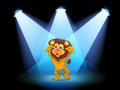 A scary lion at the center of the stage illustration Stock Photo